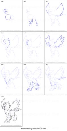 How to Draw Absol from Pokemon printable step by step drawing sheet : DrawingTutorials101.com