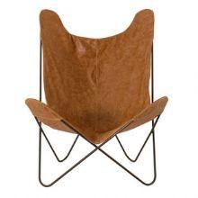 Poltrona com couro la paz camel. Poltrona de couro online :: Velha Bahia - Loja online móveis e objetos de decoração