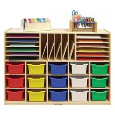 ECR4Kids Birch Multi-Section Storage Cabinet with 15 Bins - Brown