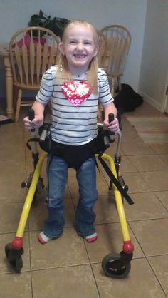 This is my daughter Jossilyn Anderson who has spastic Cerebral Palsy. She is going to be 7 in June and just recently had heel cord release surgery that has really helped her standing and walking. She is amazing in every way. Keep smiling CP families, you're all awesome!