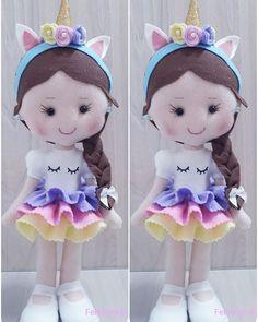 Unicorn teddy bear with felt Felt Patterns Free, Felt Doll Patterns, Unicorn Birthday Parties, Unicorn Party, Felt Crafts Dolls, Felt Fairy, Felt Toys, Fabric Dolls, Diy Crafts To Sell