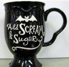 Bat mug! Add scream & sugar! Caneca decorada com morcego! Adicione gritos & açúcar!