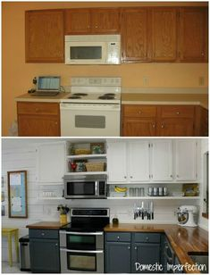 Two Toned Cabinets Valspar Cabinet Enamel From Lowes Successful - Kitchen rehab on a budget
