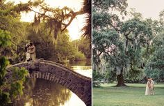 For romantic wedding photos, New Orleans City Park offers several unique photo opportunities.  This gorgeous landscape offers acres of sprawling green space, bayou ponds with footbridges, and walking trails, not to mention the world's largest stand of live oaks, including one that dates back almost 800 years.