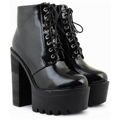 Shay Patent Cleated Platform Boots (730 MXN) ❤ liked on Polyvore featuring shoes, boots, black boots, laced up boots, lace-up boots, black platform shoes and chunky platform boots