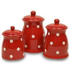 Red Polka Dot Ceramic Kitchen Canister Set