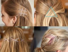 20 Awesome Beauty Hacks Using Bobby Pins 20 Awesome Beauty Hacks Using Bobby Pins,braids Bobby Pin Hacks - Ways to Use Bobby Pins That Will Change Your Life - Elle Bobby Pin Hairstyles, Diy Hairstyles, Pretty Hairstyles, Updo Hairstyle, Wedding Hairstyles, Curly Hair Styles, Natural Hair Styles, Natural Beauty, Barrettes
