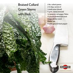 Rinse leaves and dry. Remove ribs and cut into ½-inch dices. Heat 1 Tbsp. of canola oil in medium Dutch oven or heavy-bottomed saucepan over med. heat. Add onions and sauté for 3-5 min. Add garlic & red pepper flakes and continue to cook for 1 min. Add chicken both, ham hocks and stems. Reduce heat to med.-low, cover & cook for 80-90 min., until tender. Season to taste with salt & pepper. Serve alongside Sautéed Leafy Collard Greens.