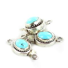 Persian Turquoise Sterling Silver Clasp Oval 9x7mm