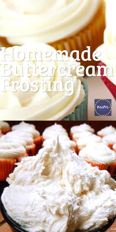 5 Minute Homemade Vanilla Buttercream Frosting recipe will produce beautiful white fluffy icing that Homemade Cake Icing, Cupcake Icing Recipe, Easy Icing Recipe, Cupcake Recipes, Icing Cupcakes, Whipped Buttercream Frosting, Vanilla Frosting Recipes, Cinnabon Frosting Recipe, Pastries