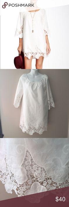 """🆕 Blu Pepper White Dress w/ lace accents. Medium 🆕 Blu Pepper White Dress w/ lace accents. Medium. 34"""" long. 18"""" under the arms Blu Pepper Dresses"""