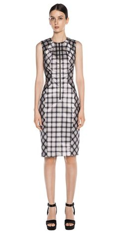 Dresses | Satin Check Panelled Dress