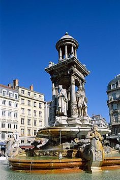 Jacobins Fountain, Lyon, UNESCO World Heritage Site, Rhone Valley, France…