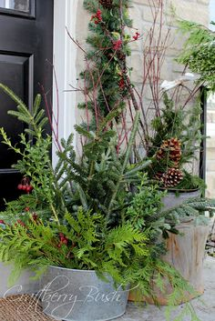 Craftberry Bush: The Front Porch (and helping Christmas Evergreens last longer)