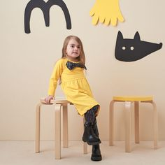 BOW COLLAR DRESS, Canary yellow | Weecos Collar Dress, Kids Wear, Sustainable Fashion, Kids Outfits, Bows, Yellow, Clothes, Dresses, Arches