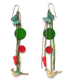 Grainne Morton :: Contemporary Handcrafted Earrings and Cufflinks :: Multi Charm Earrings -->CUTE!