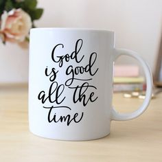 """God is good all the time"" Mug makes a great Christian Gift for women. ❤ ABOUT JOYFUL MOOSE MUGS ❤ - 11 oz Ceramic Coffee Mugs - dishwasher and microwave safe - ready for gift giving packaged safely i"