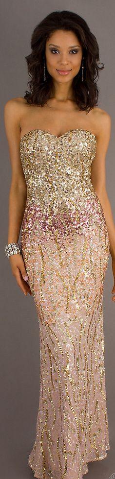 Formal long dress #strapless #sexy #glitter