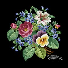 Code 151120 Bouquet A palette of 40 colors in DMC. The scheme is suitable for embroidery with beads and petit point. Size 120x120st. Price 5$