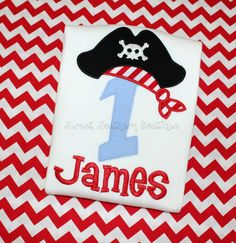 Pirate Birthday Shirt Letter Number applique child girl boy baby onesie brother sister matching outfit sibling 1 2 3 4 5 6 7 8 9 first via Etsy