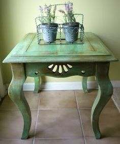 Annie Sloan antibes green painted furniture: Annie Sloan Chalk Paint Antibes Green with Old White look great with the natural stone floor Chalk Paint Projects, Chalk Paint Furniture, Hand Painted Furniture, Repurposed Furniture, Furniture Projects, Furniture Makeover, Vintage Furniture, Home Furniture, Modern Furniture