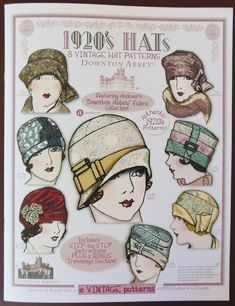 Not vintage - Downton Abbey pattern book - Hats - by e Vintage Patterns - 8 Vintage Hat Patterns featuring Andover Fabrics Downton Abbey fabric collection - 24 pages Retro Mode, Mode Vintage, Vintage Maps, Vintage Fabrics, 1920s Hats, 1920s Flapper, Vintage Outfits, Vintage Fashion, Fashion 1920s