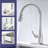 "Found it at Wayfair - Simplice Single-Hole or Three-Hole Kitchen Sink Faucet with 16-5/8"" Pull-Down Spout, Docknetik Magnetic Docking System, and A 3-Function Sprayhead Featuring The New Sweep Spray"