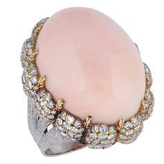 1stdibs   BUCCELLATTI. Coral and Diamond Dress Ring.