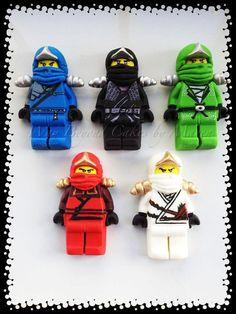 Custom Gumpaste Lego Ninjago inspired Cake Toppers, whole set of 5 ninjas and sensei wu Lego Ninjago Cake, Ninjago Party, Lego Cake, Superhero Cake, Minecraft Cake, Lego Birthday Party, Boy Birthday, Birthday Cake, Bolo Lego