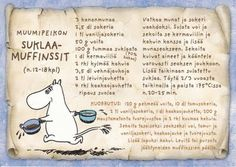 Muumipeikon suklaamuffinssit: maailman parhaat suklaamuffinssit. Kuorrutetta tulee melko reippaasti. Finnish Language, Finnish Recipes, Tove Jansson, Old Recipes, Food And Drink, Cooking, Sweet, Desserts, Bakery