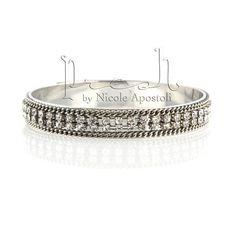 Crystal Bangle Silver Bracelet Silver Crystal by PreshStudio