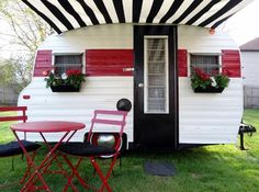 classy black & white-striped awning