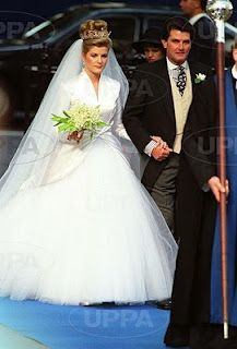 Serena Stanhope during her 1993 wedding to Princess Margaret's son David, Viscount Linley (this is her father pictured with her, not David).