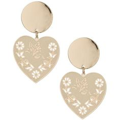 Miss Selfridge Heart Drop Stud (39.265 COP) ❤ liked on Polyvore featuring jewelry, earrings, gold color, gold tone earrings, miss selfridge, gold colored earrings, heart drop earrings and studded jewelry