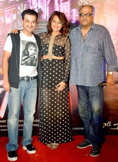 Sanjay Kapoor, Sonakshi Sinha and Boney Kapoor at the launch of 'Radha Nachegi' song from 'Tevar'. #Bollywood #Fashion #Style #Beauty