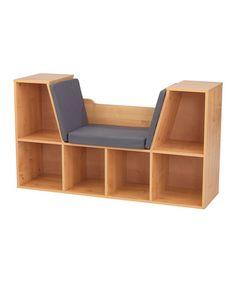 Love this Natural Bookcase & Reading Nook on #zulily! #zulilyfinds