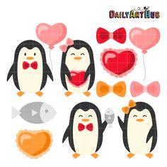 FREE Penguin Love Clip Art Set