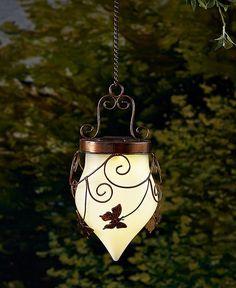 Solar Garden Hanging Lantern Yard Garden Outdoor Lighting Butterfly Bronze  Light