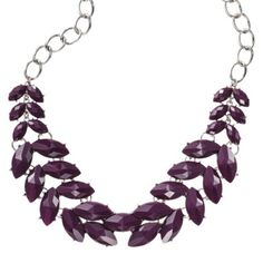 Fashion Statement Necklace Chain with Leaves - Silver/Purple