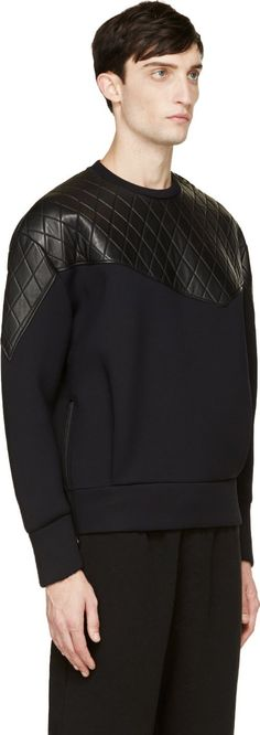 Neil Barrett Black Neoprene & Quilted Leather Sweatshirt