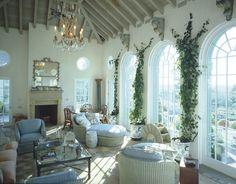 blue and white porch decor in Connecticut ~ Bunny Williams design
