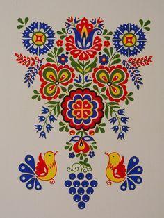 Související obrázek Hungarian Embroidery, Folk Embroidery, Embroidery Patterns, Polish Folk Art, Scandinavian Folk Art, Indian Folk Art, Traditional Paintings, Russian Art, Crochet Motif