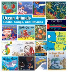 ocean animal book suggestions, and ocean animals rhymes and song for your under the sea theme.