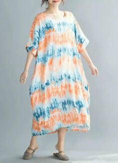 hand knitted 7480 Colorful cotton dress short summer dress