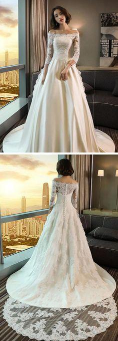 Modest 3/4 Sleeve Off the Shoulder A Line Lace Wedding Dress #wedding #longsleeve #offtheshoulder #lace #modest #bridaldress