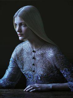 "Cecilie Deisting Skejø wears a Giorgio Armani dress in ""Prêt-à-Porter"" for Io Donna 2013 photographed by Julia Hetta"
