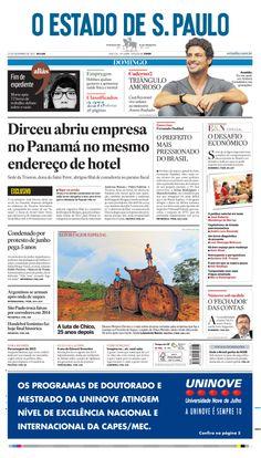 Capa do 'Estado' neste domingo, 22 de dezembro de 2013: Dirceu abriu empresa no Panamá no mesmo endereço de hotel http://oesta.do/JeF8QV