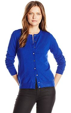 6e5818be46 Calvin Klein Women s Solid Button-Front Cardigan  Button front cardigan  that is long sleeved perfect for the fall