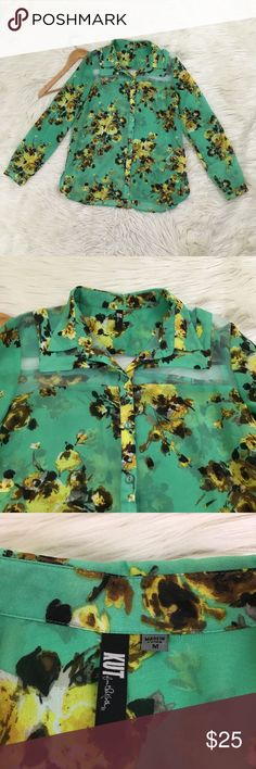 """Kut From The Kloth Womens Sz M Floral Blouse Kut From The Kloth Womens Sz M Floral Blouse  • Mint Green with Yellow flowers • Semi-Sheer with sheer upper Panels • Button Down • New without tags  Length: 26.5"""" Armpit to armpit: 20"""" G5  📌NO lowball offers 📌NO modeling 📌NO trades  Come check out the rest of our closet! We have various brands and ALL different sizes! Kut from the Kloth Tops Blouses"""