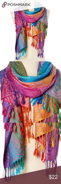 Italmode Purple & Jewel-Tone Paisley Fringe Scarf A mural of colors bring artistic appeal to this fringed scarf.  28'' x 68'' with 3'' fringe 100% acrylic Hand wash Imported Italmode Accessories Scarves & Wraps